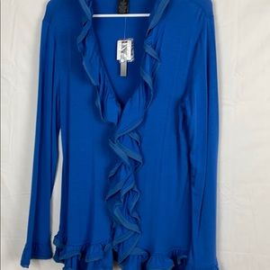 NWT Grace Elements ruffled button down cardigan M